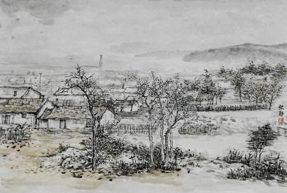 水墨画山水田园风景